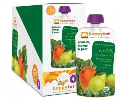 Happy Tot Organic Baby Food, Stage 4, Spinach, Mango and Pear, 4.22-oz. Pouches (Pack of 16) deal