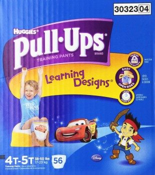 Huggies Pull-Ups Training Pants with Learning Designs for Boys, 4T-5T, 56 Count Deal