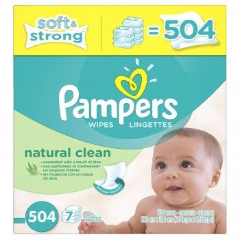 Pampers Natural Clean Wipes 7x Box 504 Count Deal
