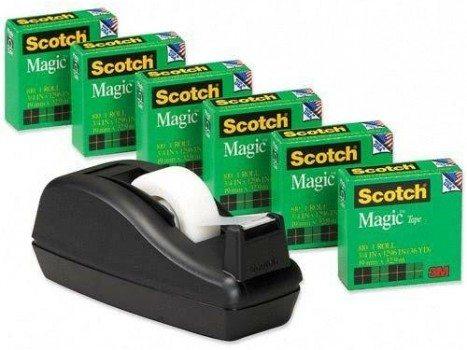 Scotch Magic Tape, 3 4 x 1000 Inches, 6-Pack with C-40 Black Dispenser (810C40BK) Deal