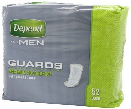 Depend Guards for Men, Maximum Absorbency Incontinence Protection, 52-Count Deal