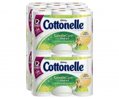 Cottonelle Gentle Care Toilet Paper with Aloe and E, Double Roll, 12 Count (Pack of 4) Deal