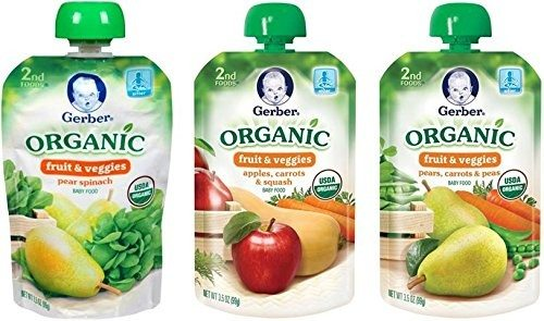 Gerber Organic 2nd Food Pouches, Fruit and Veggie Variety Pack 2, 3.5oz, 18 count Deal