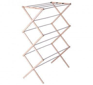 Household Essentials Folding Wood Clothes Drying Rack, Pre assembled Deal