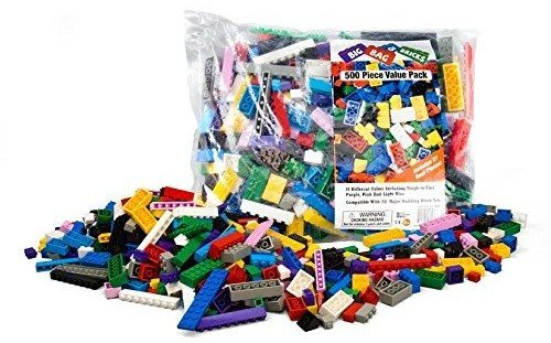 Building Bricks - 500 Pc Big Bag of Bricks Bulk Blocks with 27 Roof Pieces - Tight Fit and Compatible with Lego Deal