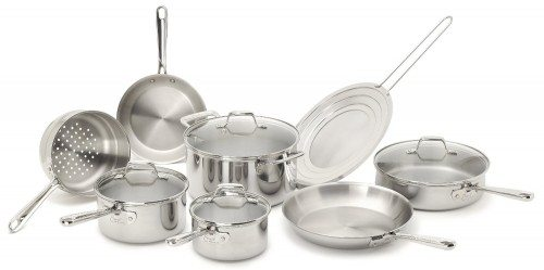 Emeril by All-Clad E914SC PRO-CLAD Tri-Ply Stainless Steel Cookware Set, 12-Piece, Silver Deal