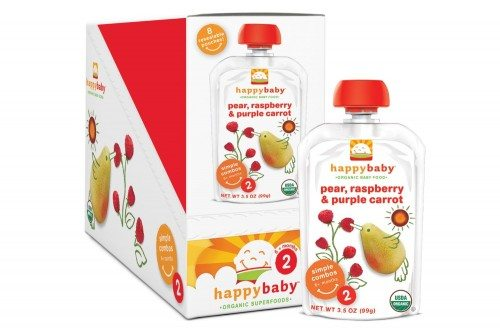 Happy Baby Organic Baby Food 2 Simple Combos, Pear Raspberry & Purple Carrot, 3.5 Ounce (Pack of 8)  Deal