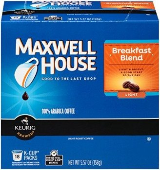 Maxwell House Cafe Breakfast Blend Ligt, Coffee Pods, 18 Count Deal
