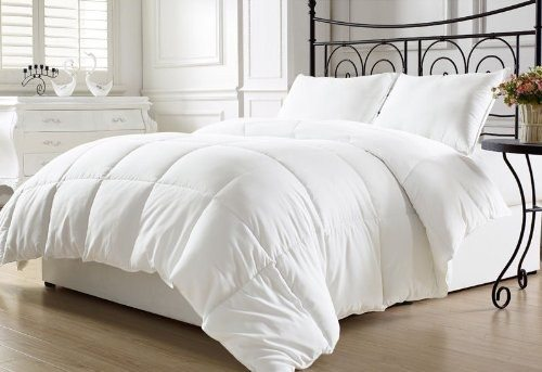 Chezmoi Collection White Goose Down Alternative Comforter, Full Queen with Corner Tab Deal