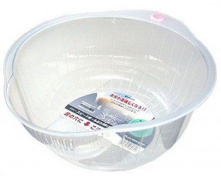 Inomata Japanese Rice Washing Bowl with Side and Bottom Drainers, White Deal