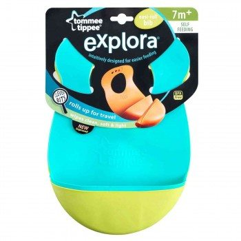 Tommee Tippee Explora Easi Roll Bib, Blue and Green, 2 Count Deal