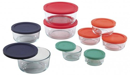 Pyrex 1110141 18pc Glass Food Storage with Multi-colored Lids Deal