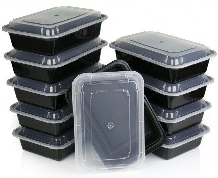 ChefLand Microwavable Food Container with Lid Bento Box, Black, 10-Pack Deal