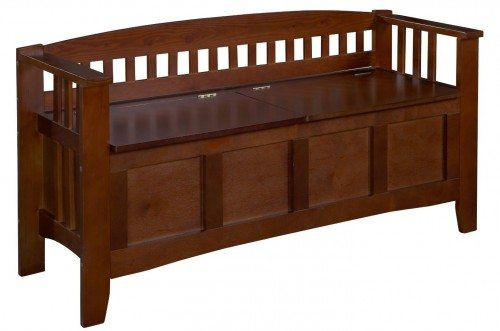 Linon Home Decor Storage Bench with Short Split Seat Storage, Walnut Deal