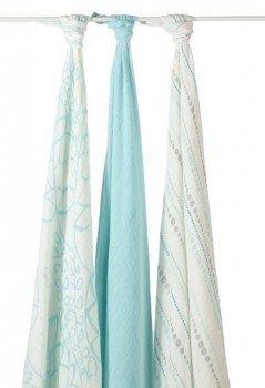 aden + anais rayon from bamboo fiber muslin swaddle 3-pack, azure Deal