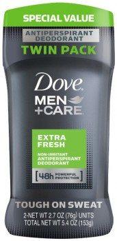 Dove Men+Care Antiperspirant & Deodorant, Extra Fresh 2.7 oz, Twin Pack Deal