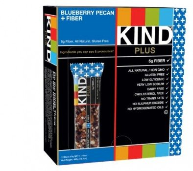 KIND PLUS, Blueberry Pecan + Fiber Bars, Gluten Free Bars, 1.4 Ounce, 12 Count Deal