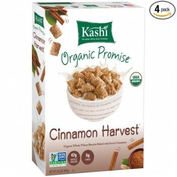 Kashi Organic Promise Cereal, Cinnamon Harvest Whole Wheat Biscuits, 16.3 Ounce Boxes (Pack of 4) Deal