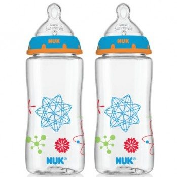 NUK Advanced Orthodontic Bottle in Boy Colors, 10-Ounce, 2 Count Deal