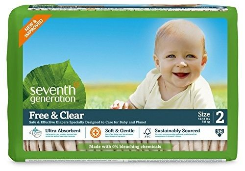 Seventh Generation Free and Clear, Unbleached Baby Diapers, Size 2, 180 Count, Packaging May Vary Deal
