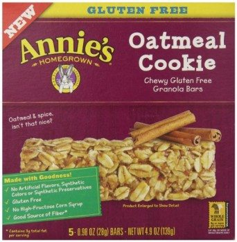 Annie's Chewy Gluten Free Granola Bars, Oatmeal Cookie, 0.98 oz. Bars, 5 Count Deal