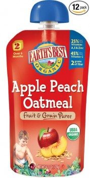 Earth's Best Organic Stage 2, Apple, Peach & Oatmeal, 4.2 Ounce Pouch (Pack of 12) Deal
