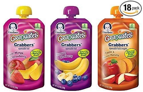 Gerber Graduates Grabbers Squeezable Fruit & Veggies Variety Pack, 4.23 Ounce Pouch, 18 Count Deal