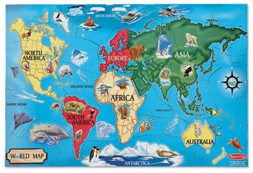 Melissa & Doug World Map 33 pcs Floor Puzzle  Deal