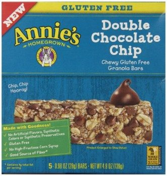 Annie's Chewy Gluten Free Granola Bars, Double Chocolate Chip, 0.98 oz Bars, 5 Count Deal