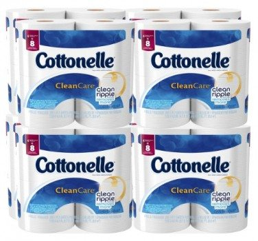Cottonelle Clean Care Toilet Paper, Double Roll, 4 Count (Pack of 8) Deal
