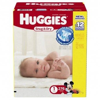 Huggies Economy Plus Pack Snug and Dry Diapers, Size 1, 276 Count Deal
