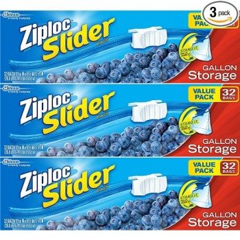 Ziploc Slider Storage Bags Gallon Value Pack 32 ct (Pack Of 3) Deal