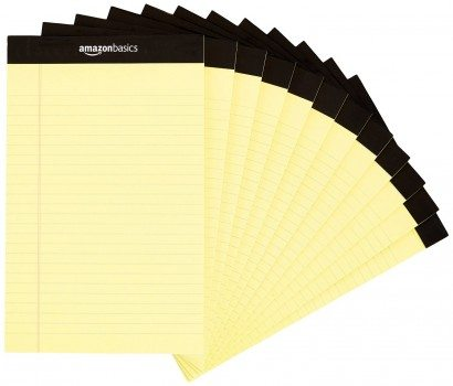 AmazonBasics Narrow Ruled 5 x 8-Inch Writing Pad - Canary (50 sheets per pad, 12 pack) Deal
