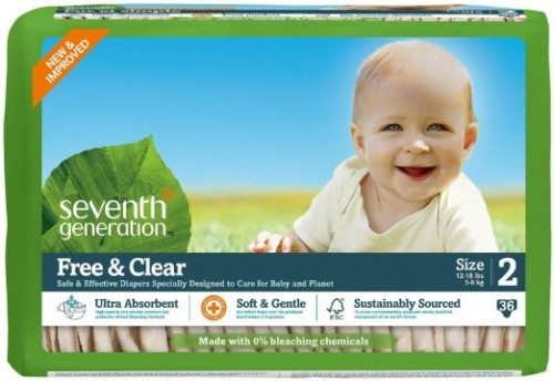 Seventh Generation Free and Clear, Unbleached Baby Diapers, Size 2, pack of 3, Packaging May Vary Deal