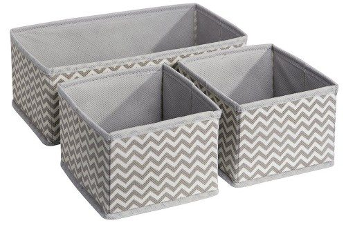 InterDesign Chevron Fabric Storage, Dresser Drawer & Closet Organizer -3 Piece Set, Taupe Natural Deal