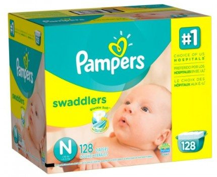 Pampers Swaddlers Diapers, Size N, Giant Pack, 128 Count Deal
