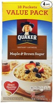 Quaker Instant Oatmeal, Maple Brown Sugar, 18-Count Boxes, 27.3 Ounce, (Pack of 4) Deal