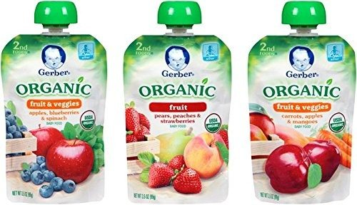 Gerber Organic 2nd Food Pouches, Fruit and Veggie Variety Pack 1, 3.5oz, 18 count Deal