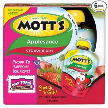 Mott's Snack & Go Strawberry Applesauce, 3.2 oz pouches (Pack of 24) Deal