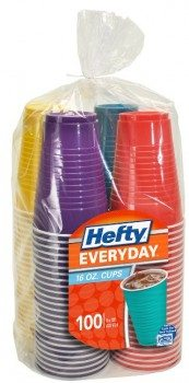 Hefty Everyday Assorted Colors Party Cups, 16 Oz, 100 Count Deal