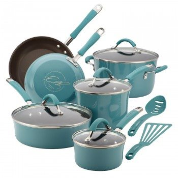 Rachael Ray Cucina Hard Porcelain Enamel Nonstick 12-Piece Cookware Set, Agave Blue Deal