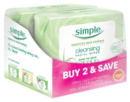 Simple Cleansing Facial Wipes 25 ct, Twin Pack Deal
