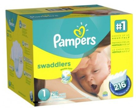 Pampers Swaddlers Diapers Size 1 Economy Pack Plus, 216 Count Deal