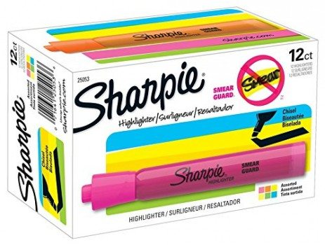 Sharpie Accent Tank-Style Highlighters, Assorted Colors, 12 Pack