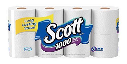 Scott 1000 Sheets Per Roll Toilet Paper, Bath Tissue, 8 Rolls Deal