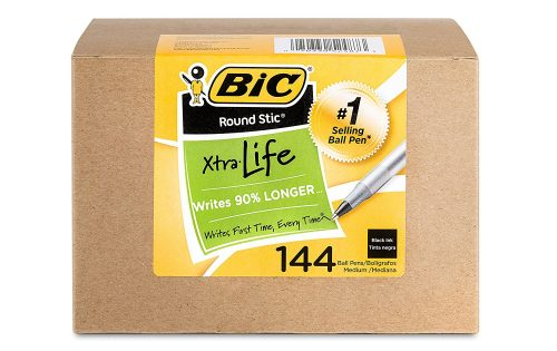 BIC Round Stic Xtra Life Ball Point Stick Pen, Medium Point, 1.0 mm Black Ink, 144-Count Deal