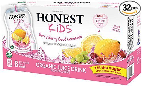 HONEST Kids Organic Juice Drink, Berry Berry Good Lemonade, 6.75 fl oz Pouches (Pack of 32) Deal
