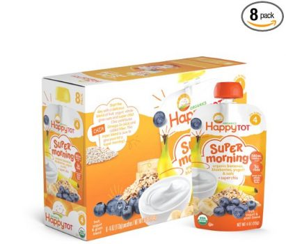 Happy Tot Organic Stage 4 Super Morning, Organic Bananas, Blueberries, Yogurt & Oats + Super Chia, 4 Ounce (Pack of 8) Del