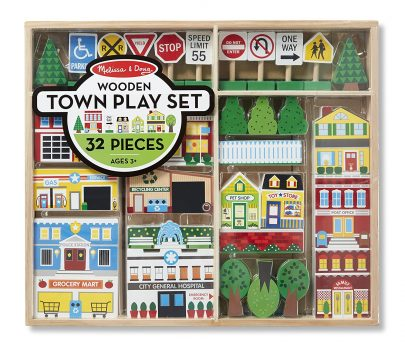 Melissa & Doug Wooden Town Play Set With Storage Tray (32 pcs) Deal
