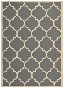 Safavieh Courtyard Collection CY6914-246 Anthracite and Beige Indoor Outdoor Area Rug (4 x 5'7) Deal